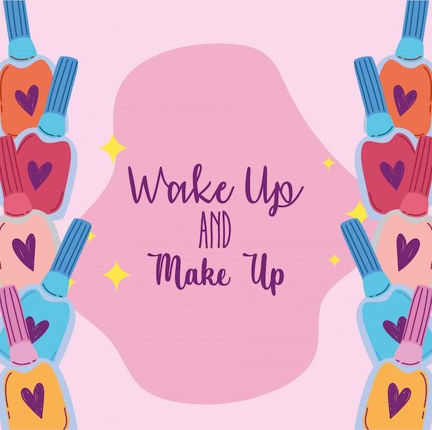 Пробуждение и макияж косметика коллекция продуктов лаки для ногтей иллюстрация