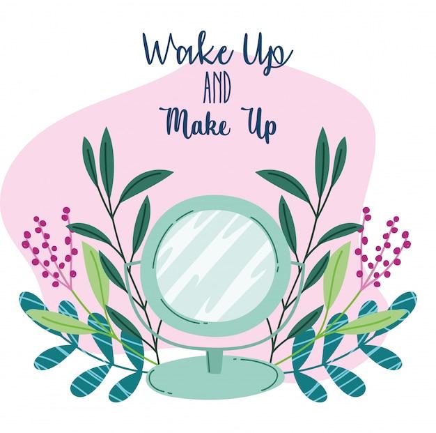 目を覚ます、メイクアップ化粧品製品ファッション美容ミラー漫画イラスト