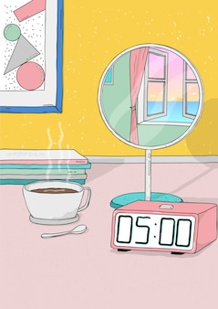 Wake up early. colorful hand drawn illustration.