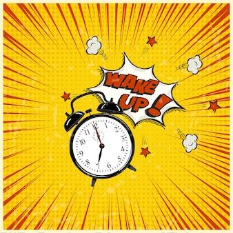 ポップアートのイラスト、グランジストリップ背景の目覚まし時計を起こします。