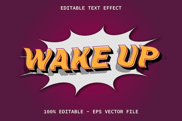 Wake up with comic style editable text effect