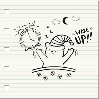 Wake up word and cute bear on paper background