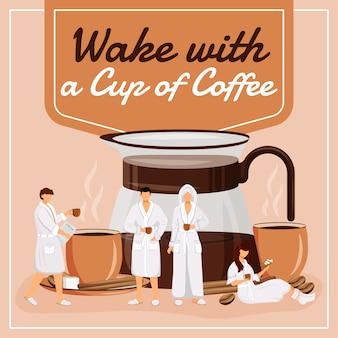 Wake with a cup of coffee social media post . motivational phrase. web banner design template. coffeeshop booster, content layout with inscription.