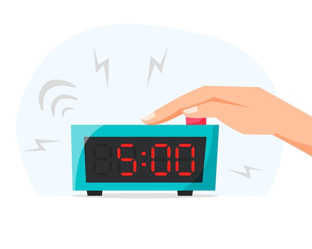 Waking up early morning turn off ringing alarm clock pressing button on electronic clock