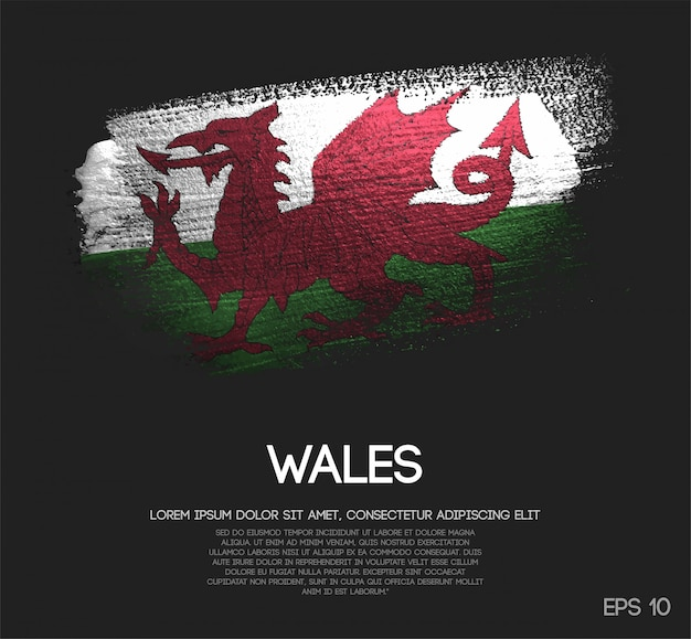 Wales flag made of glitter sparkle brush paint vector