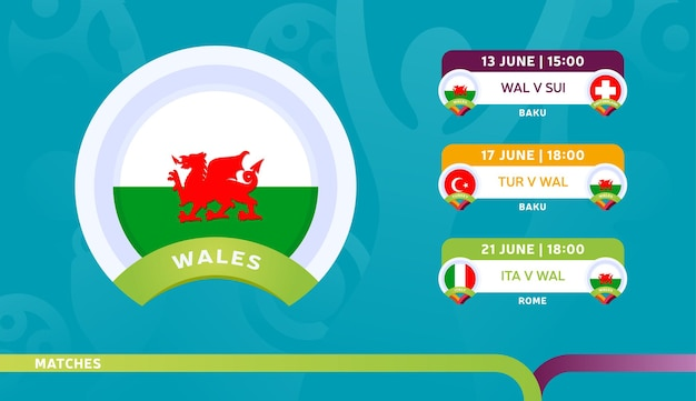 Wales national team schedule matches in the final stage at the 2020 football championship.   illustration of football 2020 matches.