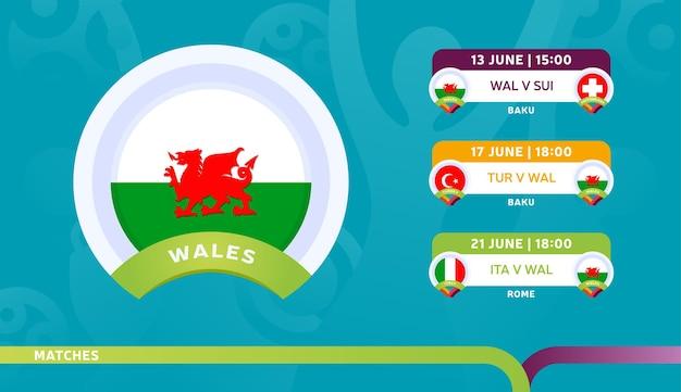 ウェールズ代表チームのスケジュールは、2020年のフットボール選手権の最終段階で試合を行います。サッカー2020の試合のイラスト。