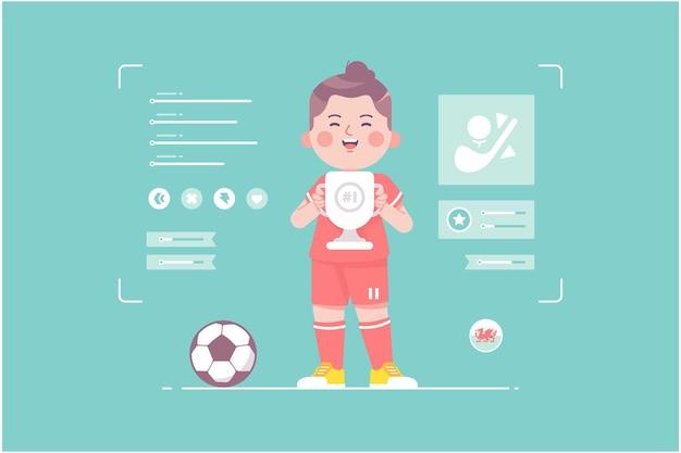 ウェールズのサッカー選手のかわいいキャラクターデザイン