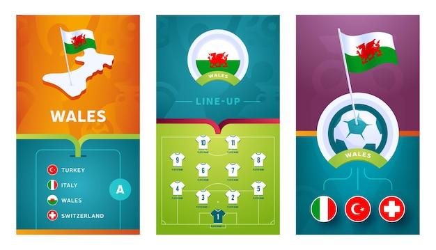 ウェールズチームのソーシャルメディア向けのヨーロッパサッカー垂直バナーセット。ウェールズグループ等角図、ピンフラグ、試合スケジュール、サッカー場のラインナップが記載されたバナー