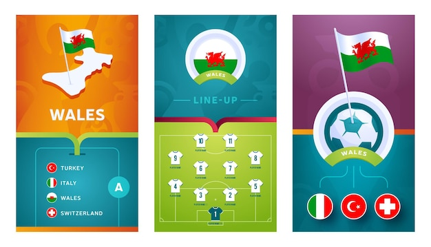 Wales team european   football vertical banner set for social media. wales group a banner with isometric map, pin flag, match schedule and line-up on soccer field