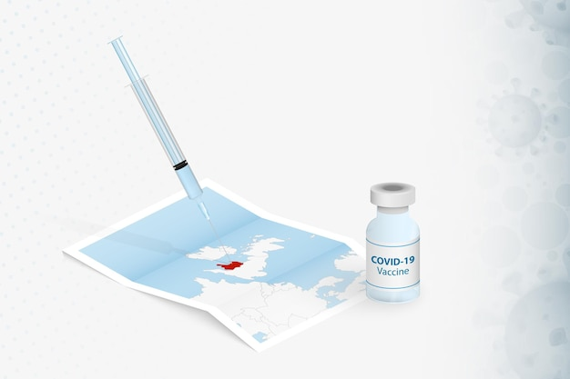 Wales vaccination, injection with covid-19 vaccine in map of wales.