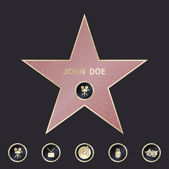 Walk of fame star with emblems symbolize five categories