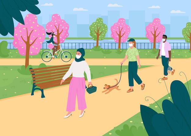 Прогулка в весеннем парке во время карантина плоская цветная иллюстрация