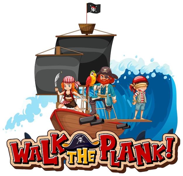 해적 만화 캐릭터와 함께 판자 글꼴 배너를 걸어