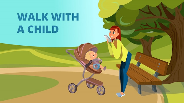 Walk with child cartoon mother son in stroller