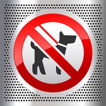 Not walk with a dog forbidden sign, on a perforated metallic background