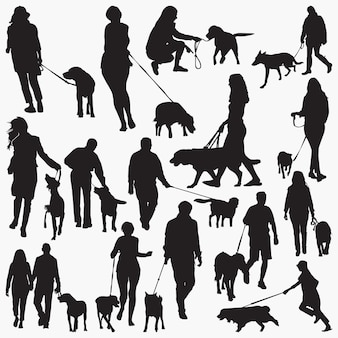 Walk with dog silhouettes