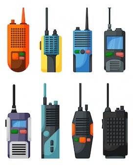 Walkie talkie   cartoon icon. isolated cartoon set icon transceiver.