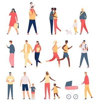 Walking adults and kids. flat parents, children, happy family and couples. father with stroller, mother and girl walks dog. crowd vector set. illustration happy family, parent with kids