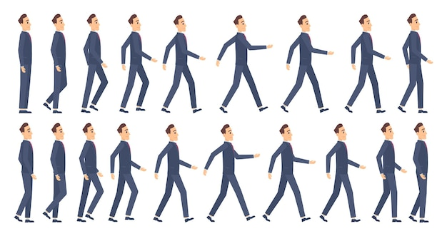 Walking animation. business characters 2d animation key frames game cartoon sprite mascot.