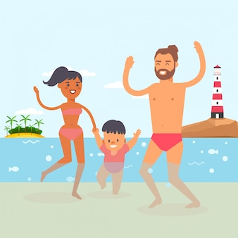Walking baby at beach resort, clear ocean water,  illustration. young family with child taking their first steps in water.