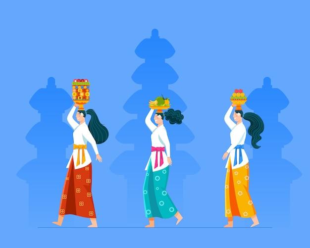 Идущая балийская девушка приносит подношения фруктов для обряда