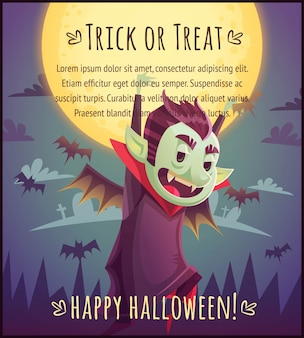 Walking cartoon vampire with flying bats behind on full moon sky background happy halloween poster trick or treat greeting card  illustration