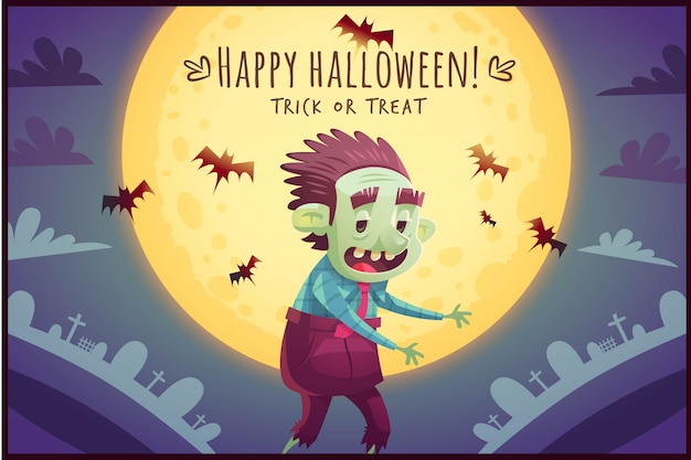 Walking cartoon zombie on full moon sky background happy halloween poster trick or treat greeting card  illustration