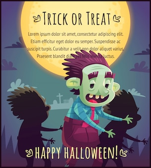 Walking cartoon zombies on full moon sky background happy halloween poster trick or treat greeting card  illustration