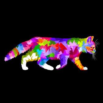 Walking cat on pop art style
