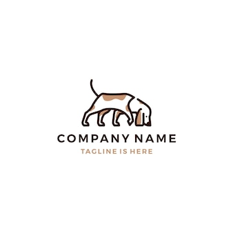 Walking dog smells vector logo template