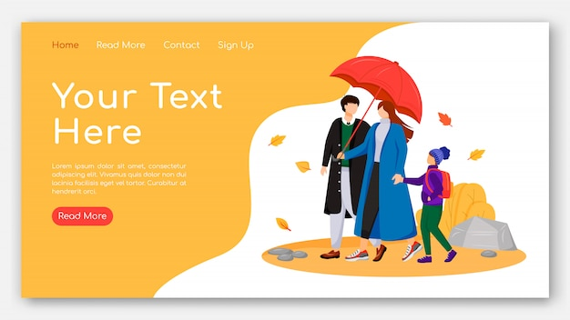Walking family landing page flat color vector template. parents with child homepage layout. website design