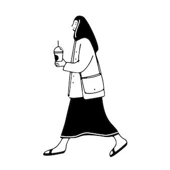 テイクアウトガラス市のキャラクターで女性の飲み物のコーヒー落書きイラストを保持している歩く女の子