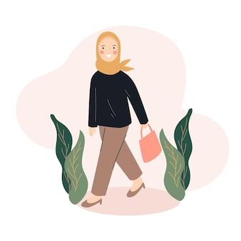 歩くヒジャーブの女性のイラスト
