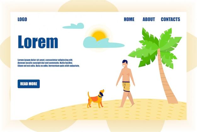 Целевая страница в тропическом стиле с walking man
