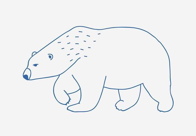 흰색 배경에 파란색 등고선으로 그린 걷거나 방황하는 북극곰 손. 슬프고 치열한 만화 야생 북극 동물, 큰 북부 육식 포유 동물. 흑백 벡터 일러스트 레이 션.