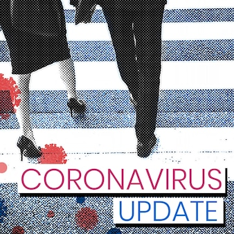 Walking people keep distance protect from covid-19 viruses mockup vector