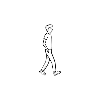 Walking person hand drawn outline doodle icon. pedestrian, recreation, walk ativity, healthy lifestyle concept. vector sketch illustration for print, web, mobile and infographics on white background.