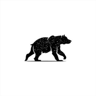 걷는 북극곰 실루엣 벡터 요소