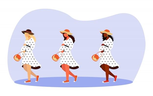 걷는 임산부 일러스트 세트. 행복한 임신 시간. 산책과 흰색 배경에 만화 캐릭터를 꿈꾸는 전체 길이 세련된 여성