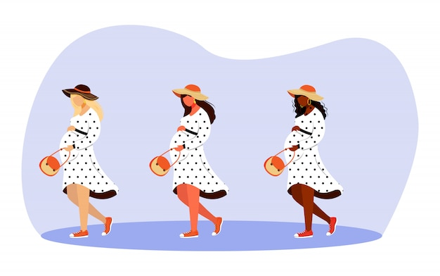 Walking pregnant girls   illustrations set. happy gestation time. full length stylish women strolling and dreaming  cartoon characters on white background