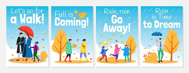 Walking in rain poster flat color templates set illustration