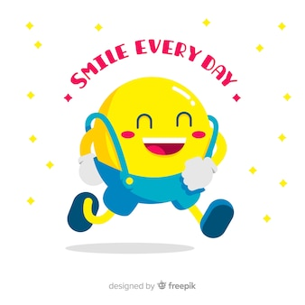 Walking smiley emoji background