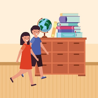 Walking students in the classroom