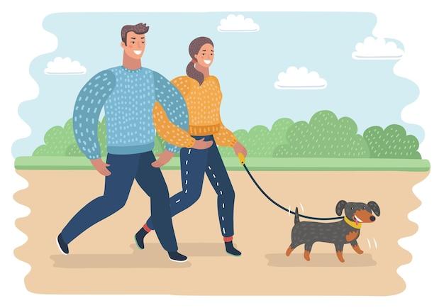 Прогулка с собакой векторные иллюстрации пары, идущей с собакой eps файл