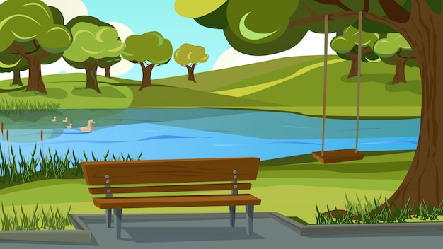 Walking track in park. wooden bench on river bank