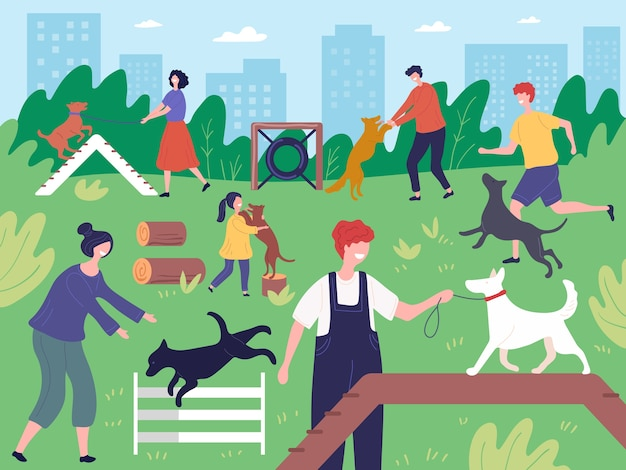Walking with dogs in park. people playing running outdoor with domestic animals dogs puppies vector. illustration park dog, train and walk