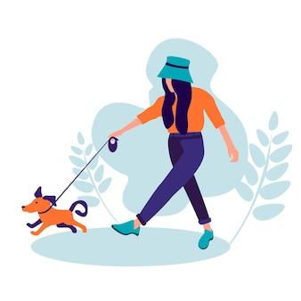 ペットと一緒に歩く女の子と犬のシルエットの親友のコンセプトイラスト