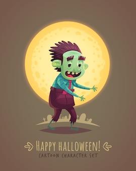 Walking zombie dead. halloween cartoon character concept.  illustration.