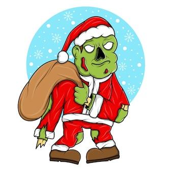 Walking zombie in santa claus christmas costume illustration